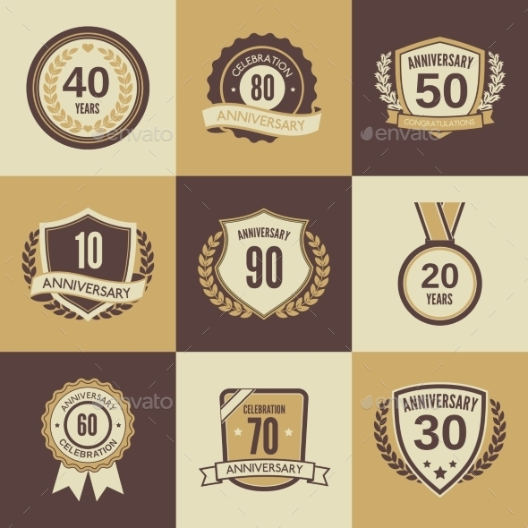 GraphicRiver Anniversary Label Set 9205509