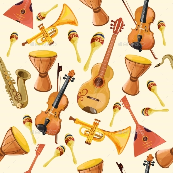 GraphicRiver Music Instruments Seamless Pattern 9205718
