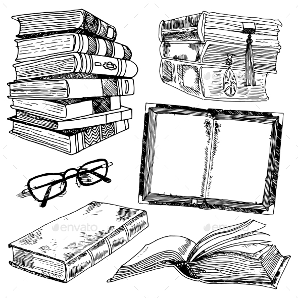 GraphicRiver Set of Books Sketches 9205720