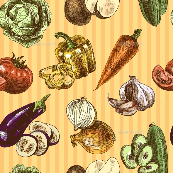GraphicRiver Vegetables Sketch Color Seamless Pattern 9205726