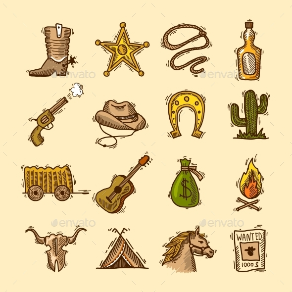 GraphicRiver Wild West Set 9205729