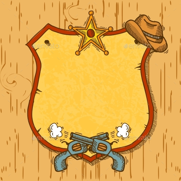 GraphicRiver Cowboy Sketch Background 9205730