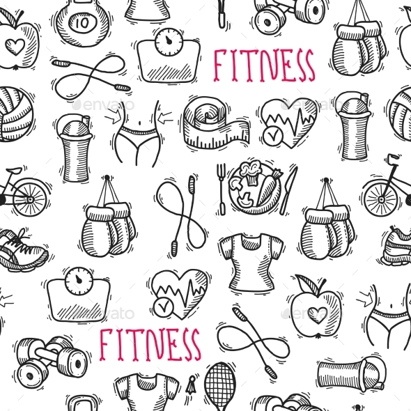 GraphicRiver Fitness Sketch Black and White Seamless Pattern 9205735