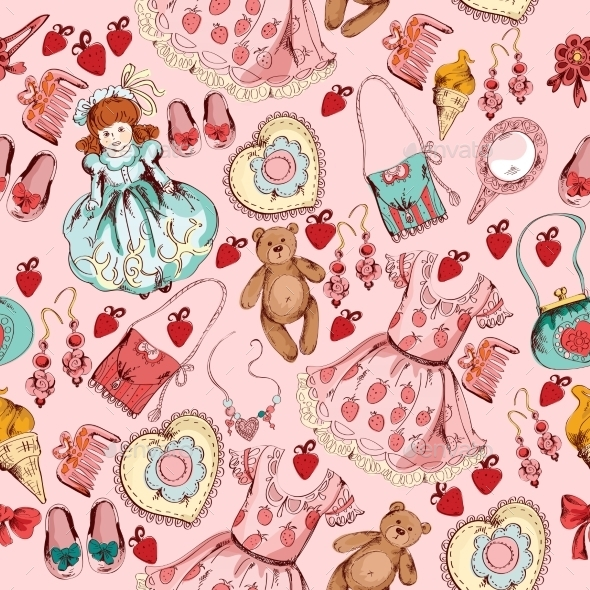 GraphicRiver Little Girl Accessories Seamless Pattern 9205738
