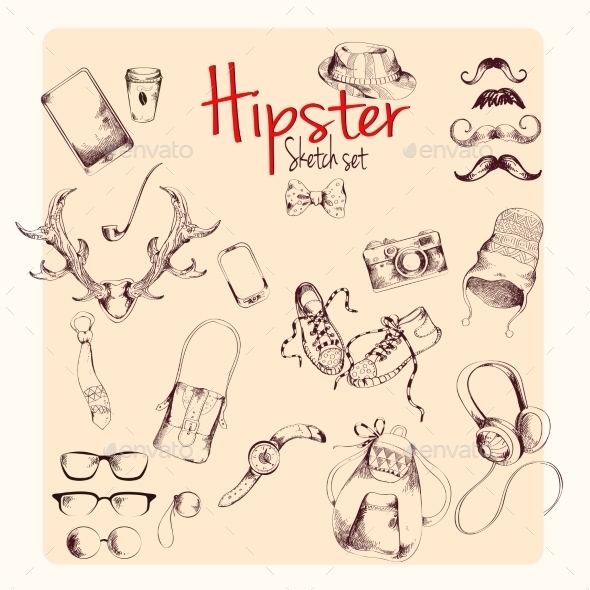 GraphicRiver Hipster Sketch Set 9205742