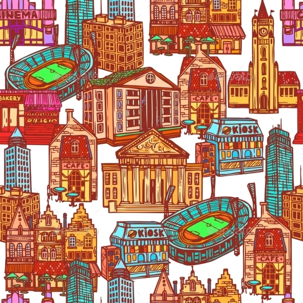 GraphicRiver Sketch City Seamless Pattern 9205862