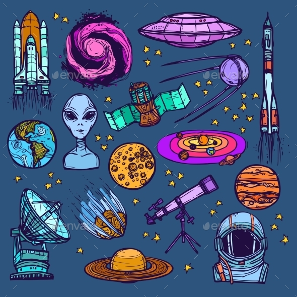 GraphicRiver Space Sketch Set Colored 9205866