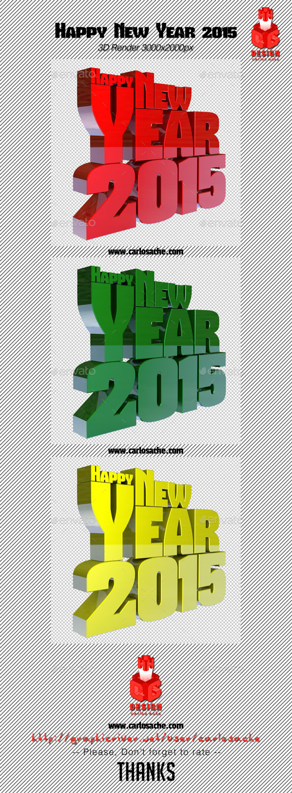 GraphicRiver Happy New Year 2015 3D Render Text 9205886