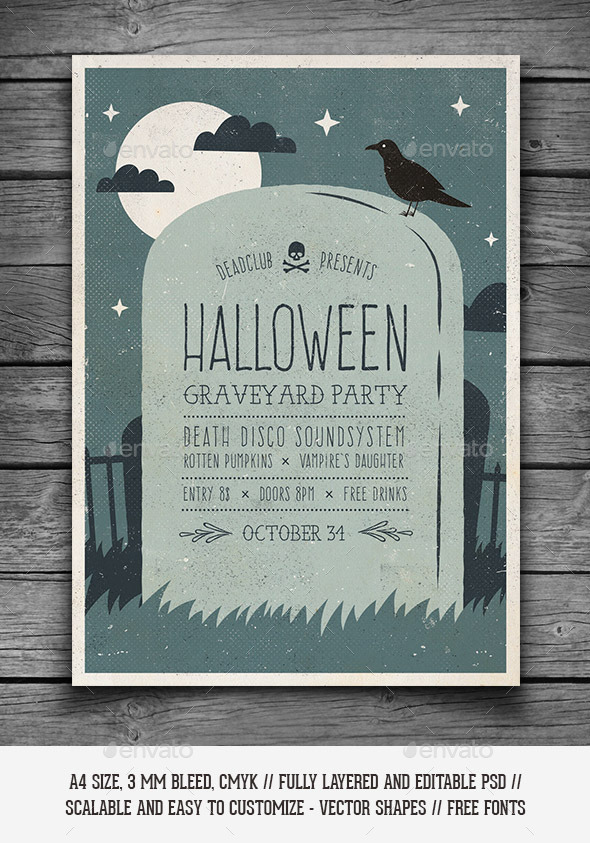 GraphicRiver Halloween Graveyard Party Flyer 9205894