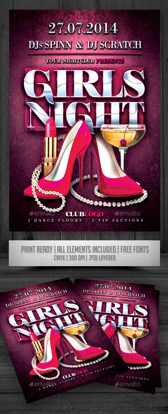 GraphicRiver Girls Night Flyer 9206956
