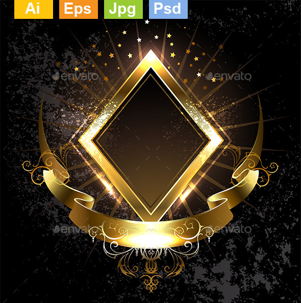 GraphicRiver Gold Banner Rhombus 9207292
