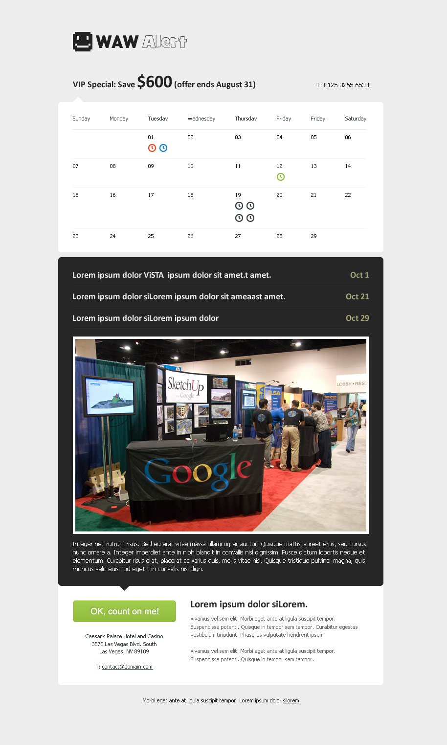 WAW Alert - Calendar & Events Email Template