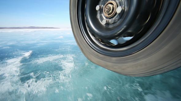 Drive the car across the frozen Lake Baikal