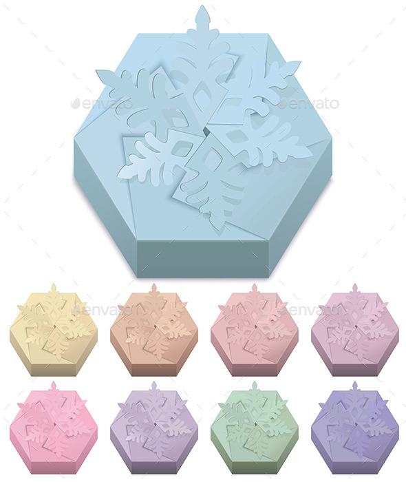 GraphicRiver Christmas Paper Gift Boxes with Snowflake 9207668