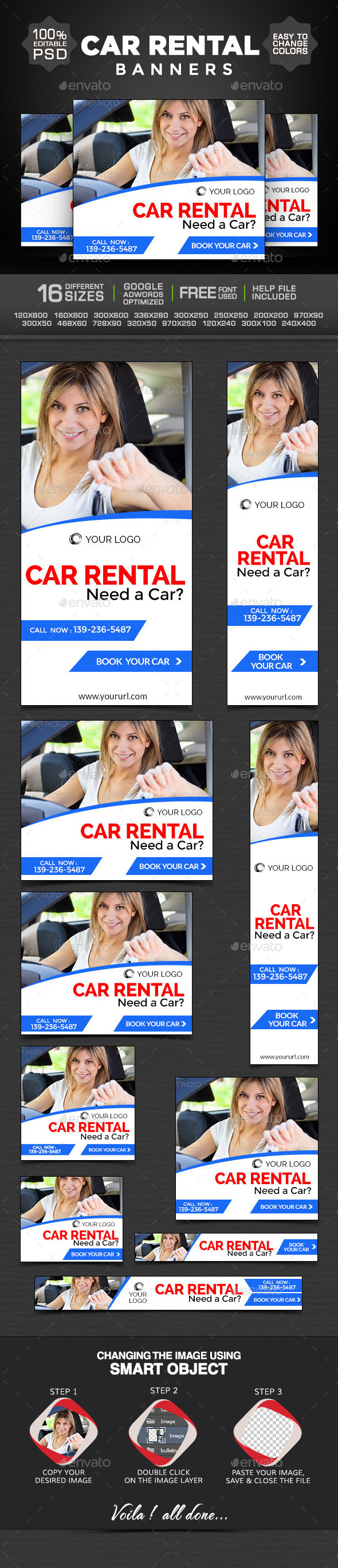 GraphicRiver Car for Rent Banners 9208029