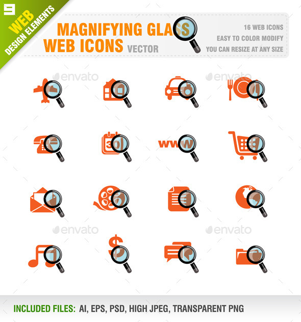 GraphicRiver Magnifying Glass Web Icons 9208277