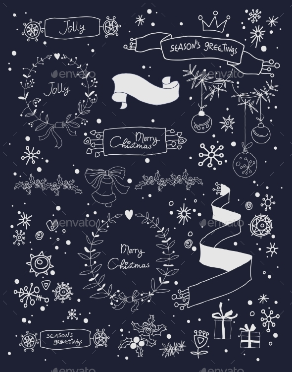 GraphicRiver Christmas Design Elements Set on Blackboard 9208326