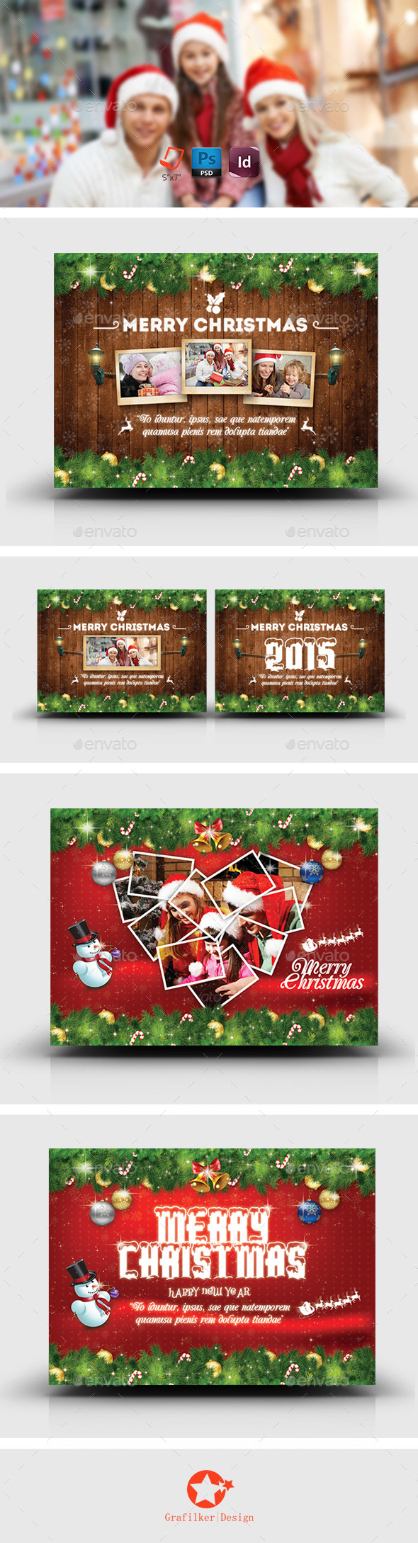 GraphicRiver Christmas Postcard Bundle Templates 9208463