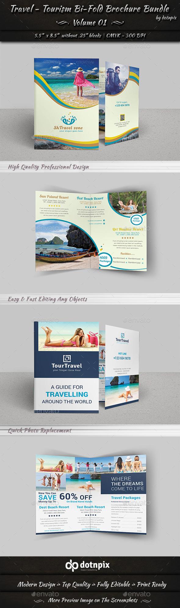 GraphicRiver Travel Tourism Bi-Fold Brochure Bundle v1 9208474