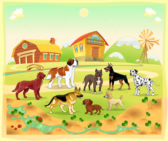 GraphicRiver Landscape with Group of Dogs 9208718