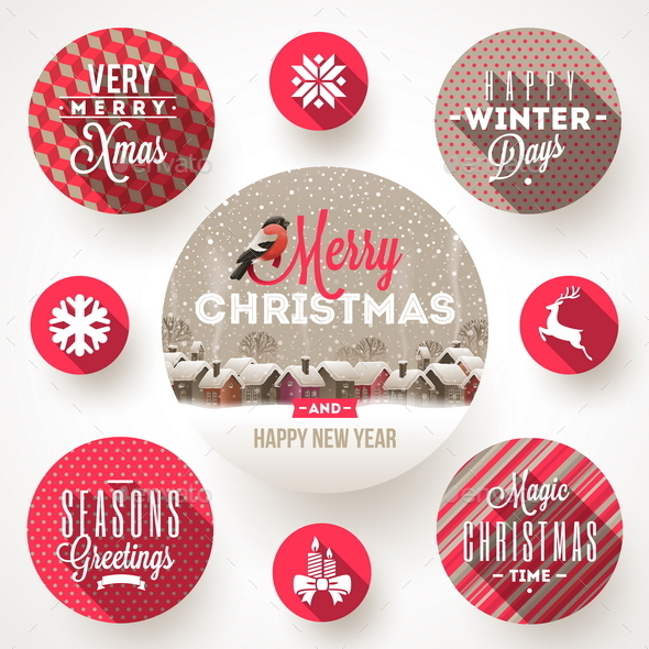 GraphicRiver Set of Christmas Greetings Design and Flat Icons 9208878