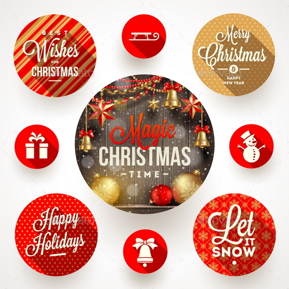 Set of Christmas Greetings Design and Flat Icons