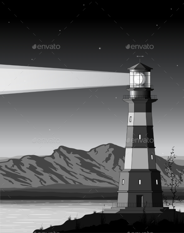 GraphicRiver Night Landscape with Detailed Lighthouse 9209212