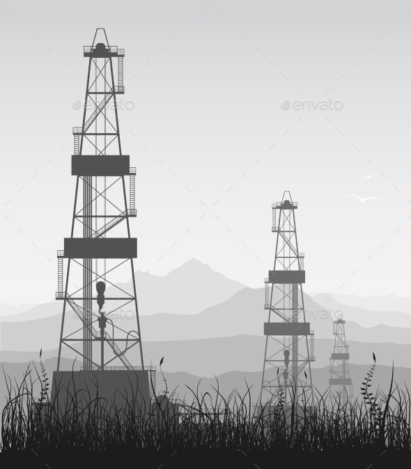 GraphicRiver Landscape with Oil Rigs over Mountain Range 9209241
