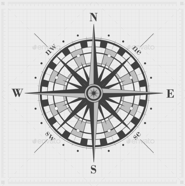 GraphicRiver Compass Rose over Grid 9209290