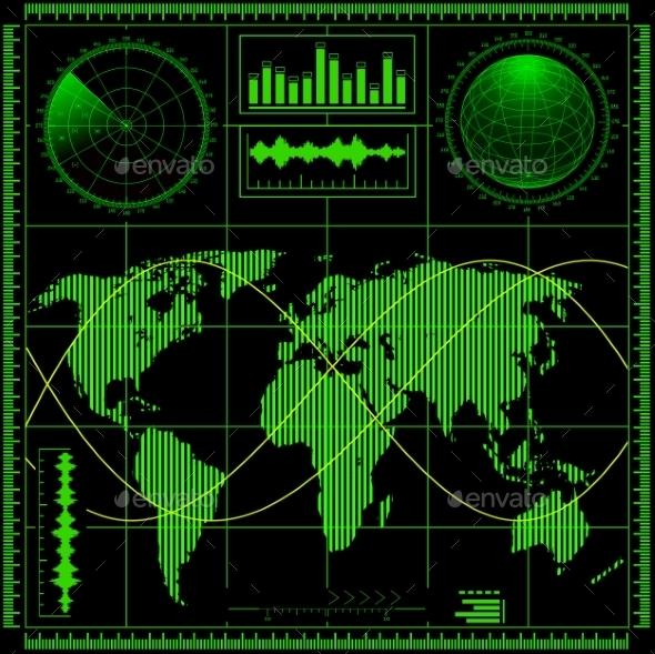 GraphicRiver Radar Screen with World Map 9209305