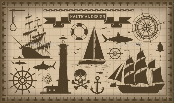 GraphicRiver Set of Nautical Design Elements 9209317