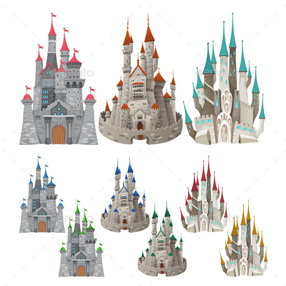 GraphicRiver Set of Medieval Castles in Different Colors 9209739