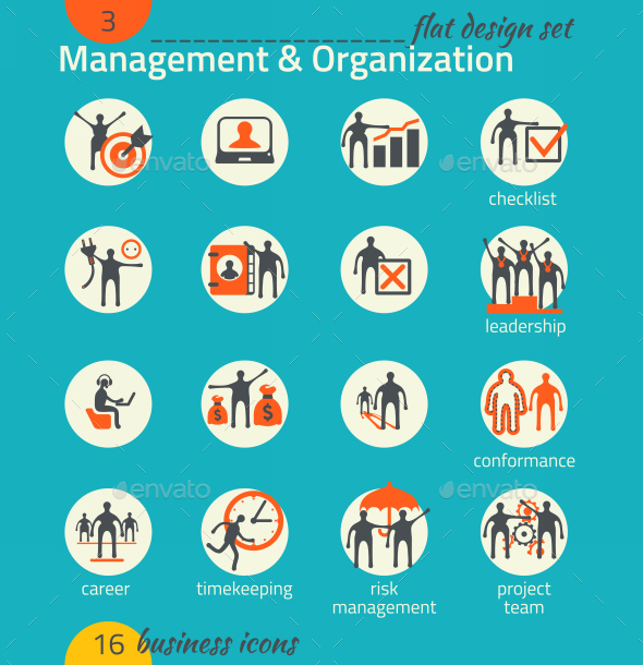 GraphicRiver Business Icon Set Management Human Resource 9210114