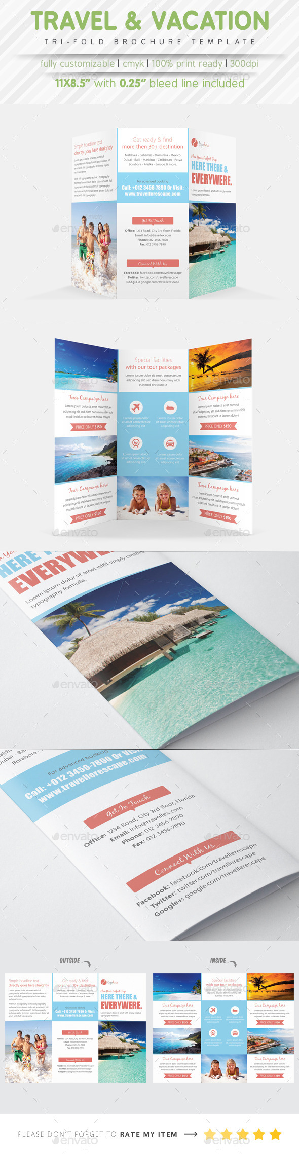GraphicRiver Travel Agency Tri Fold Brochure 9210356