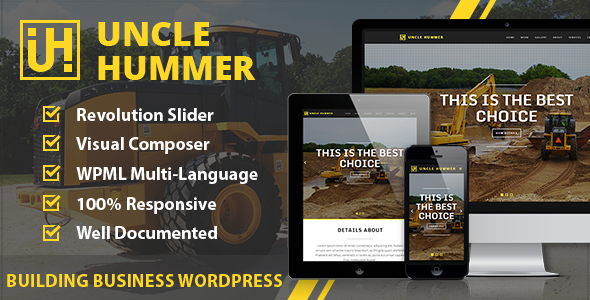 ThemeForest Uncle Hummer Responsive WordPress Building Theme 8942592