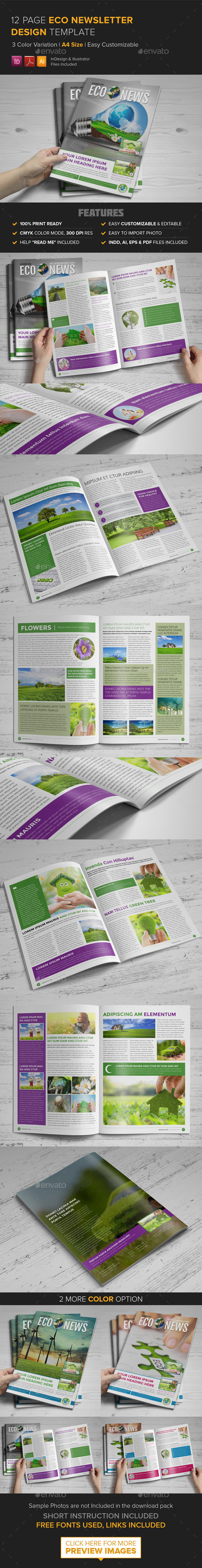 GraphicRiver 12 Page Eco Newsletter Template InDesign 9210656