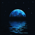 Big blue moon reflected in water - PhotoDune Item for Sale