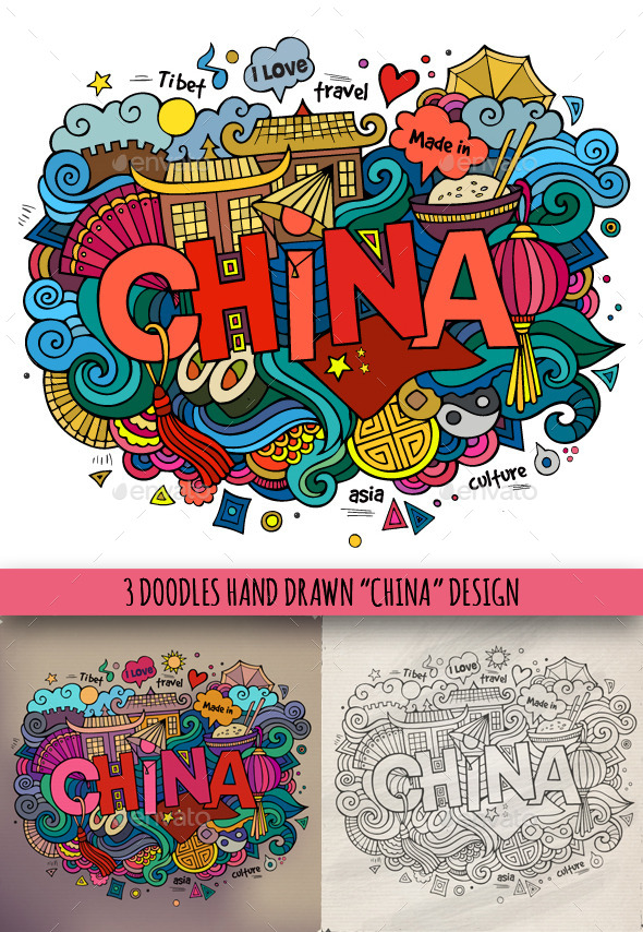 GraphicRiver 3 China Doodles 9210762