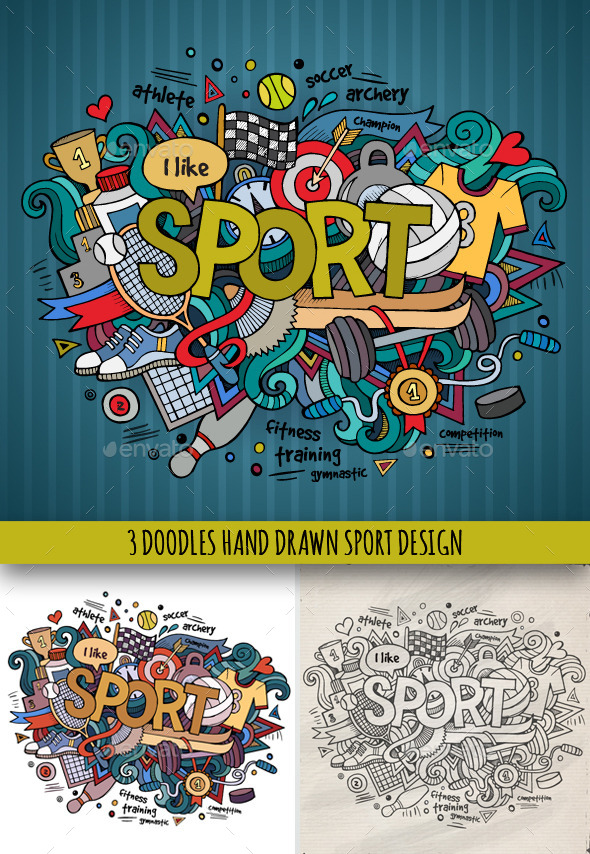 GraphicRiver 3 Sport Doodles Designs 9210995