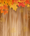 Wooden background with autumn leaves.  - PhotoDune Item for Sale