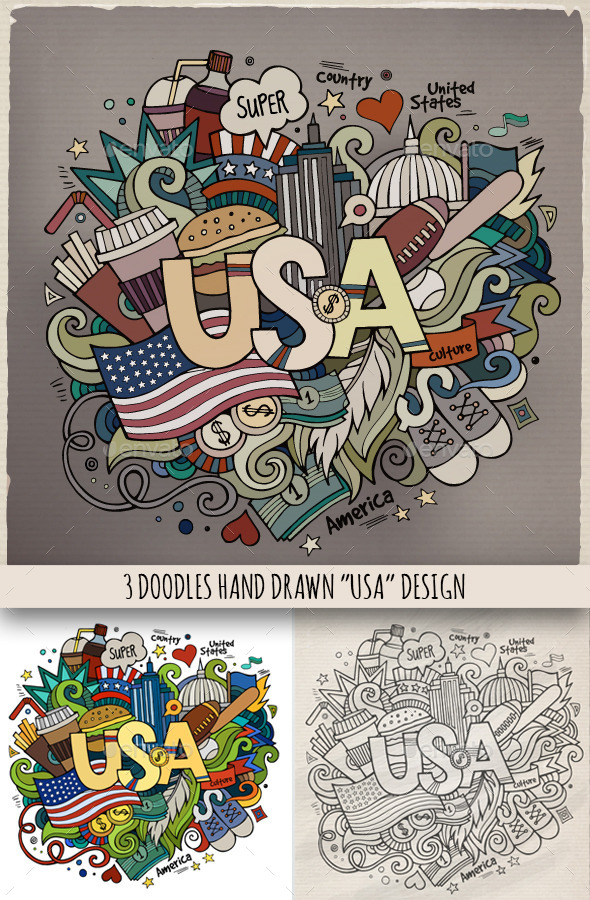 GraphicRiver USA Doodles Designs 9211315