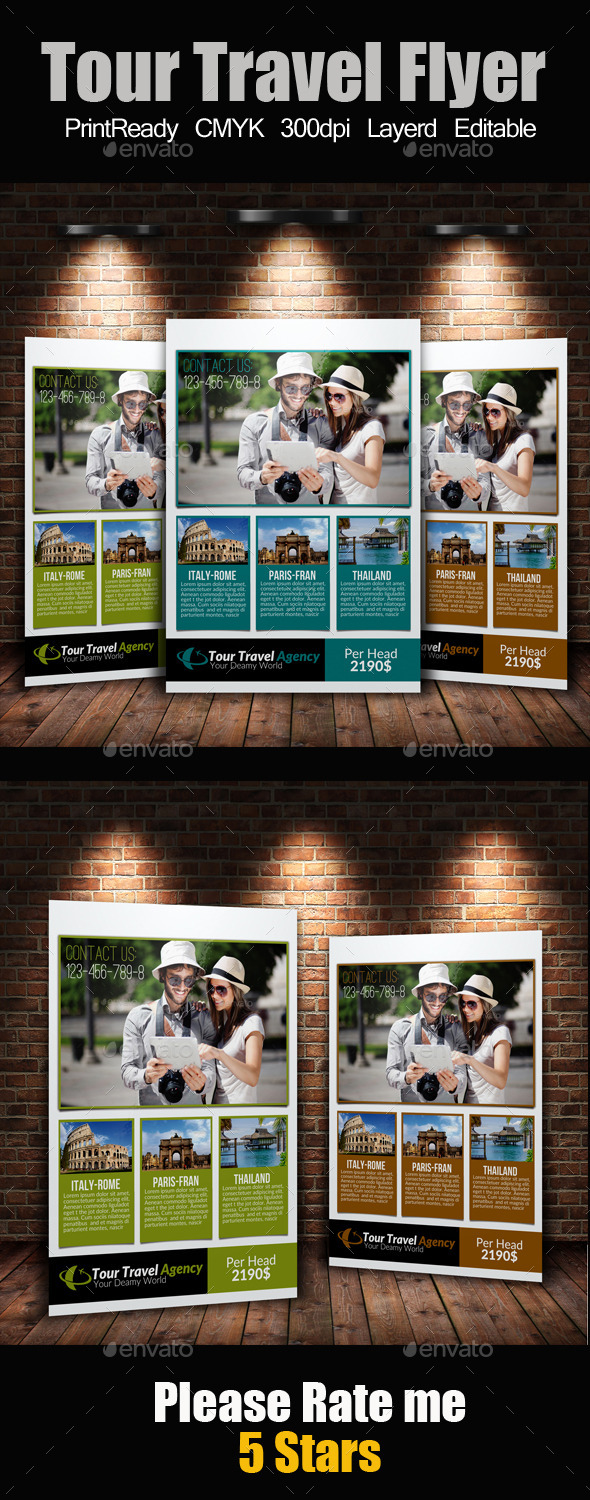 GraphicRiver A4 Tour Travel Flyer 9211327