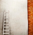 Vintage brick wall background with wooden ladder - PhotoDune Item for Sale