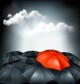 One red umbrella in a group of grey umbrellas. Uniqueness concept - PhotoDune Item for Sale
