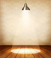 Old room with wooden floor and a spotlight.  - PhotoDune Item for Sale
