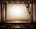 Cinema with white screen, curtain and seats. - PhotoDune Item for Sale