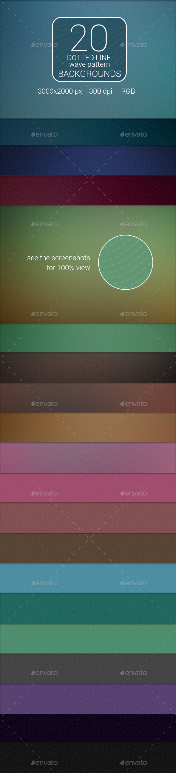 GraphicRiver 20 Dotted Line Wave Pattern Backgrounds 9211494