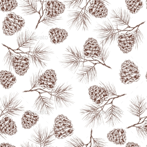 GraphicRiver Pine Branches Seamless Pattern 9211505