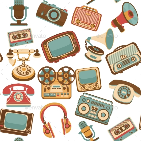 Retro Media Seamless Pattern