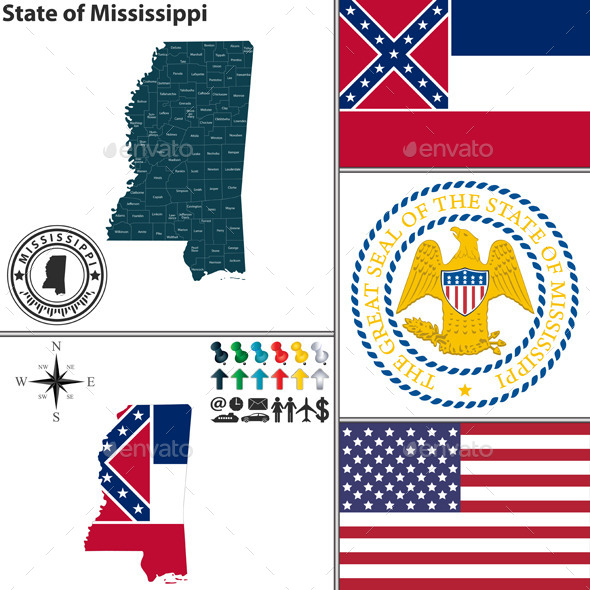 GraphicRiver Map of State Mississippi USA 9211659